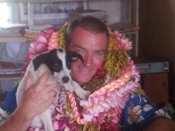 Dennis with dog and Leis