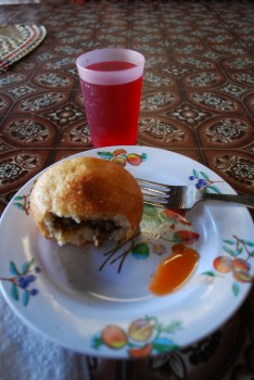 Keke Pua (literally Pork Cake) It's actually neither a cake nor pork - more a chicken or lamb bun, but hey, this is Samoa!