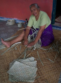 Weaving table mats in Samoa. A cottage industry.