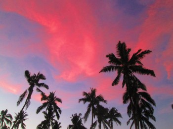 A red sky at Camp Samoa